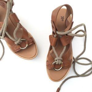 Frye Dahlia Rope Wedge Heels 9M